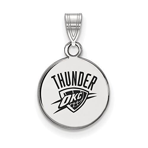 LogoArt NBA Oklahoma City Thunder Small Disc Pendant in Rhodium Plated Sterling Silver by LogoArt