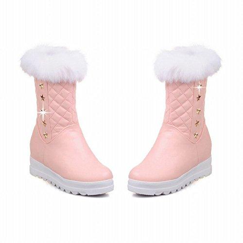 Show Shine Womens Chic Faux Fur Platform Sleehakken Met Hak Snowboots Roze