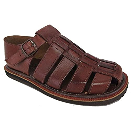 5b6047ced1a9b7 Men s authentic leather soft handmade Sandals (507) flip flop slip on  Huaraches Brown 60