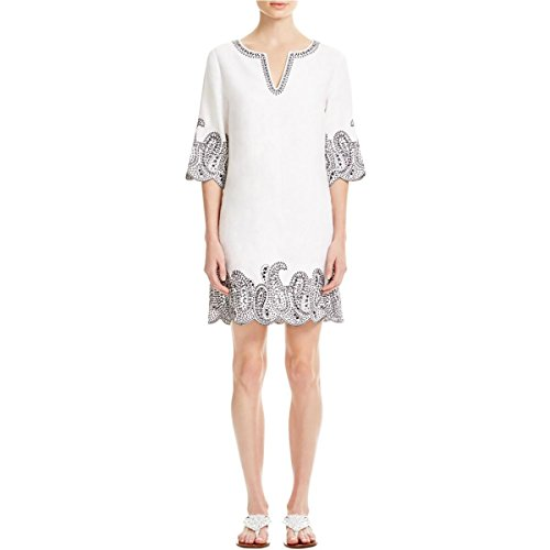 Boho-Chic Vacation & Fall Looks - Standard & Plus Size Styless - MICHAEL Michael Kors Womens Linen Embroidered Tunic Dress White