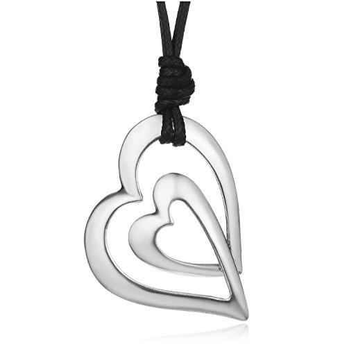 QIFA Double Overlay Hearts Promise Statement Long Pendant Necklace for Women