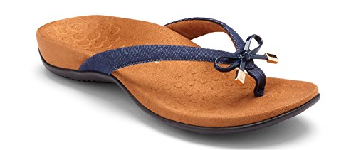 Vionic Women's Rest Bella II Toepost Sandal - Ladies Flip Flop with Concealed Orthotic Arch Support Denim 8 W US