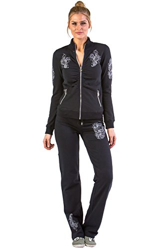 Vertigo Paris Women's Mock Neck Embroidered Lounge Tracksuit Jog Set - Black - - Tracksuit Womens Cool
