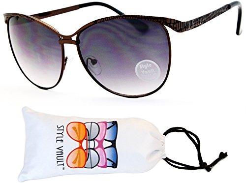 WM3048-VP Style Vault Unique Metal Cateye Sunglasses (E1929G - Sunglasses Animal Zoo Print