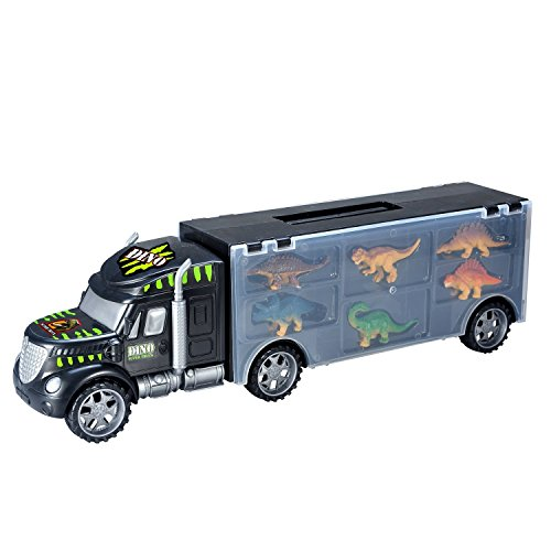 MegaToyBrand Dinosaurs Transport Car Carrier Truck Toy with Dinosaur Toys Inside - Best Megatoybrand dinosaur kids toy for ages 3 - 8 yr old