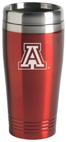 University of Arizona Wildcats Stainless Steel Travel Tumbler w/Thumb-Slide Lid For Office or Home, 16 oz, red ()