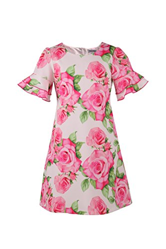 (Emma Riley Girl's Fashion Rose Flowers Trumpet Sleeves Dresses for Party Wedding Birthday 10 Pink)