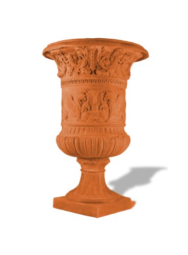 Majestic Urn - Amedeo Design ResinStone 2000-1T Majestic Tuscan Urn, 42 by 42 by 64-Inch, Terra Cotta