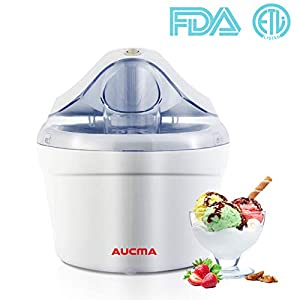 Aucma Ice Cream Maker, Ice Cream Machine, 1.5 Quart Gelato Maker Electric Frozen Yogurt, Sorbet and Soft Serve Ice Cream Maker Machine for Home Kids, FDA Approved