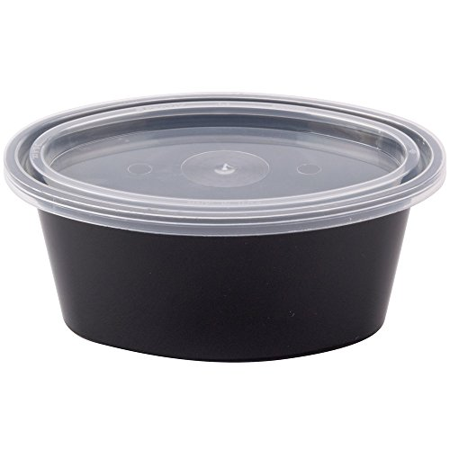 Newspring E503-B ELLIPSO 3 oz. Black Oval Souffle / Portion Cup with Clear Lid - 500/Case by Unknown