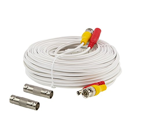 InstallerCCTV 100ft Pre-made All-in-One BNC Video and Power Cable with Connector for Surveillance CCTV Security Camera Video System - White by InstallerCCTV