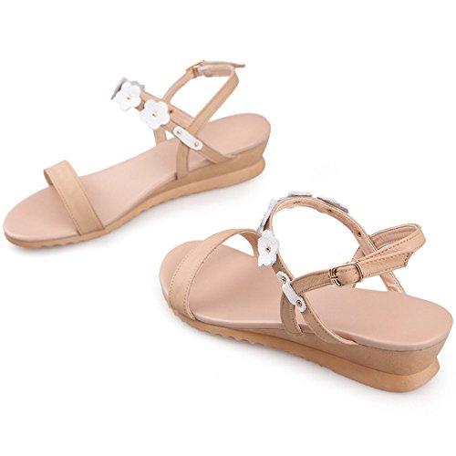 COOLCEPT Mujer Moda Correa de Tobillo Sandalias Punta Abierta Tacon de Cuna Zapatos con Flor Blanco