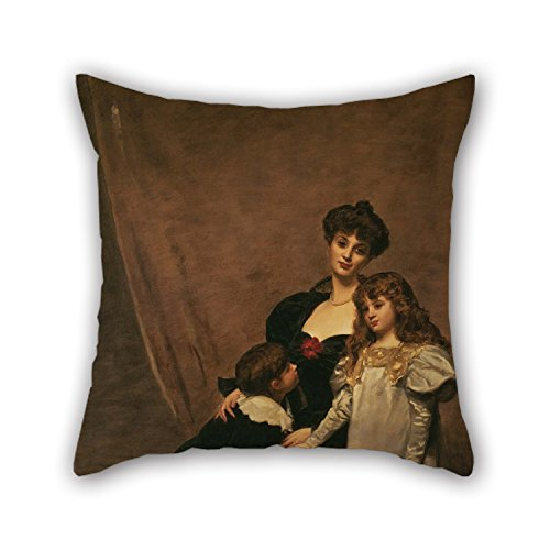 Pillowcase Of Oil Painting ?mile-Auguste Carolus-Duran - Mother And Children (Madame Feydeau And Her Children) 18 X 18 Inches / 45 By 45 Cm,best Fit For Son,living Room,festival,sofa,home - Mile 14 Michigan
