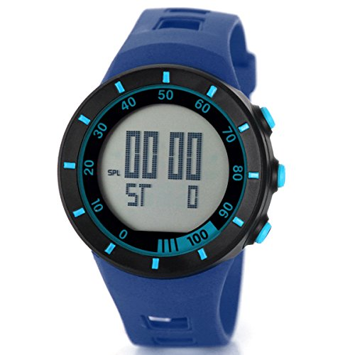 Alienwork Digital Armbanduhr Multi-funktion Uhr Backlight schwarz blau Polyurethan OS.2821-3