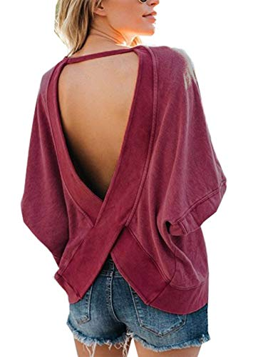 LuckyMore Women's Loose Open Back Halter Casual Shirt Tee Sexy Backless Cute Fall Tunic Tops Wine Red ()