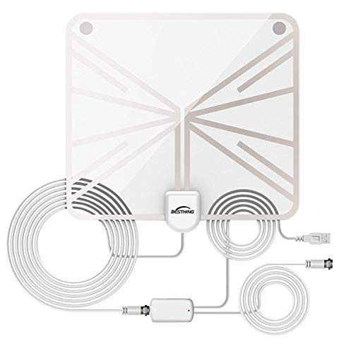 HDTV Antenna - Indoor Amplified HD Digital TV Antenna, 60 Miles Range with Detachable Amplifier Signal Booster with Amplifier Signal Booster for 1080P 4K TV Channels and 13.2 Feet Coaxial Cable