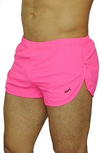 UZZI Men's Basic Running Shorts Swimwear Trunks 1830 Neon Pink S by UZZI