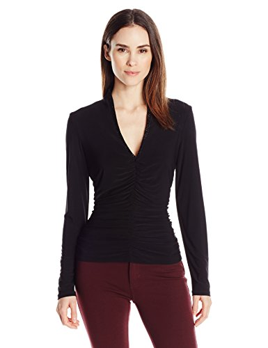Jessica Howard Women's Long Sleeve V-Neck Top with Front Shirring and Beaded Neckline, Black S ()