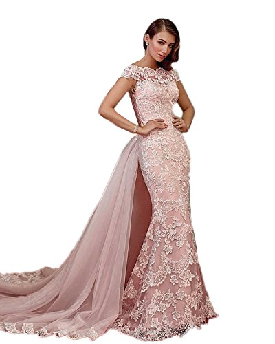 BRLMALL Women's Long Mermaid Lace Wedding Dresses Train Cap Sleeves Evening Gown -