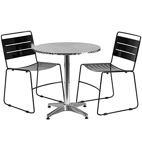 Skovde 3-pcs Table Set Round 27.5'' Aluminum w/2 Black Stack Chairs by iHome Studio