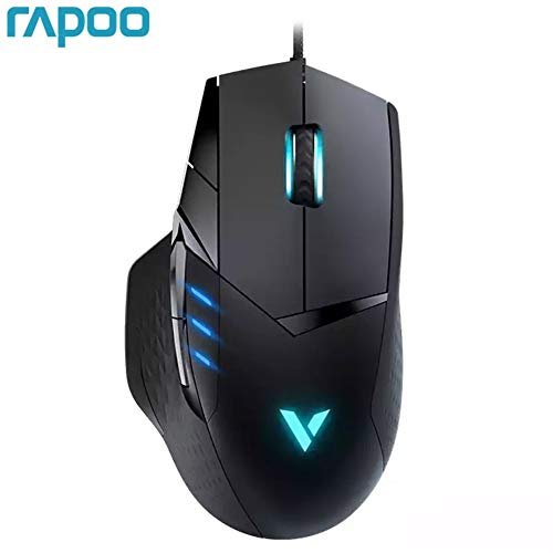 JJBHD Rapoo VT300 6200DPI IR Optical USB Wired Gaming Mouse 10 Programmable Buttons RGB Light Game Mice COD for Computer Laptop Ergonomically Comfortable Mouse (Color : Black)