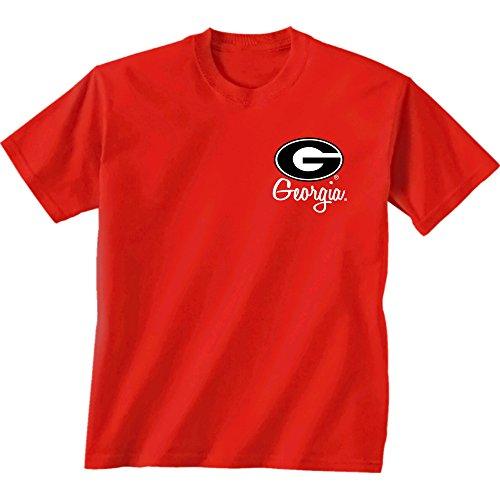 Georgia Bulldogs Ncaa University (NCAA Georgia Bulldogs Herringbone Short Sleeve Shirt, Large, Red)