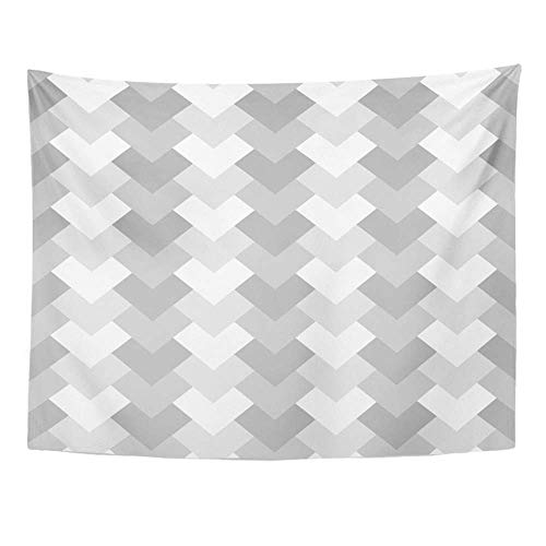 SPXUBZ Wall Tapestry Gray Geo Geometric Hearts Pattern Grayscale Chevron Herringbone Arrows Striped Wall Hanging Decoration Soft Fabric Tapestry Perfect Print for House Rooms