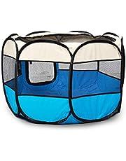 PaWz Pet Soft Playpen Dog Cat Puppy Play Round Crate Cage Tent Portable L Blue Blue L