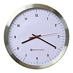 Modern 12 Stainless Silent Wall Clock White Face with Non Ticking Quiet and Accurate Movement - Bjerg Instruments