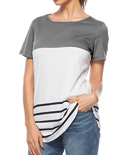 CEASIKERY Womens Summer Comfy Tunic Color Block Casual T-Shirt Short Sleeve Tops (US) X-Large Style 005