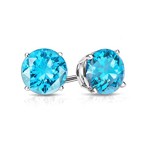 14k White Gold Blue Topaz Earrings - 9mm Blue Topaz Stud Earrings in 14k White Gold (5 CT.TW.