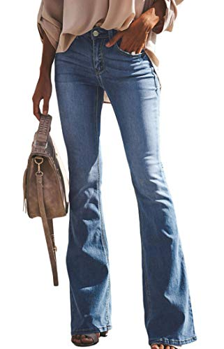 (GARMOY Womens Skinny Bell Bottom Jeans Flare Wide Leg Slim Fit High Rise Denim Pants)