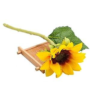 WSSROGY 6Pcs Artificial Gerbera Daisy Flowers Wedding Bouquet Home Decoration (Yellow) 10