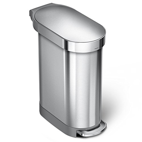 simplehuman 45Liter / 12 Gallon Stainless Steel Slim Kitchen Step Trash Can with Liner Rim, Brushed Stainless Steel