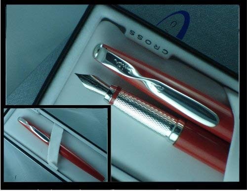 (Cross Paul Smith Limited Edition Red Lacquer and Sterling Silver with Fine nib Fountain Pen)