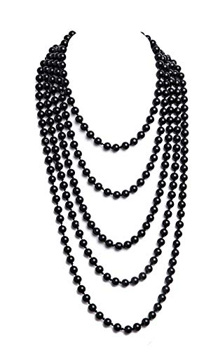 1920s Pearls Necklace Gatsby Accessories Vintage Costume Jewelry Faux Ivory Pearl Cream Long Necklace for Women (Black-1) ()