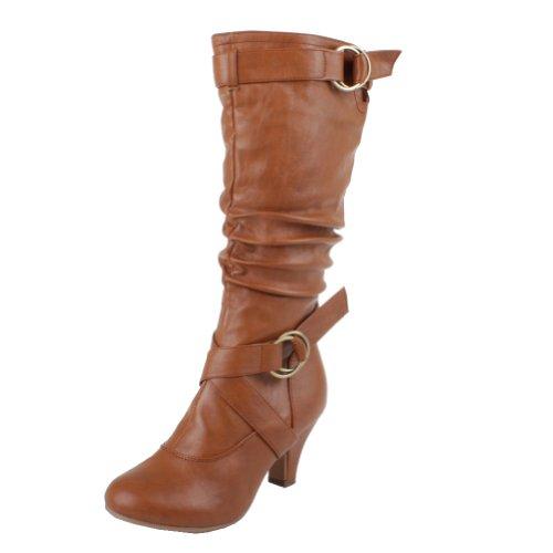 - Top Moda Auto-2 Low Heel Round Toe Mid Knee High Calf Dress Boot,Chestnut Pu (Mid-Knee),8