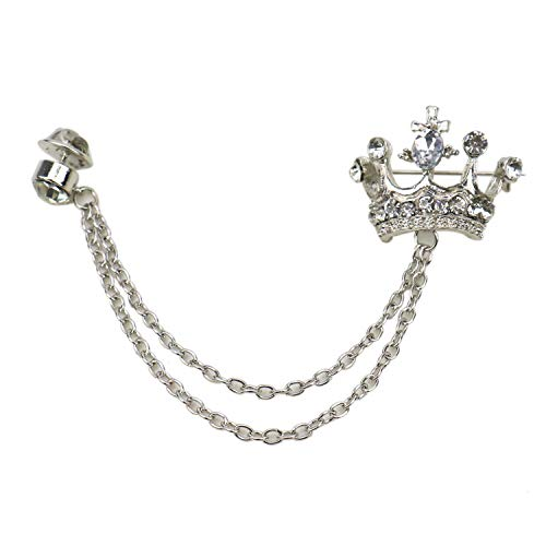 (JETEHO Crown Tassel Chain Brooch Lapel Pin Brooch Chain Pin Rhinestone Crown Badge Vintage Corsage for Men Tie Hat Scarf,)