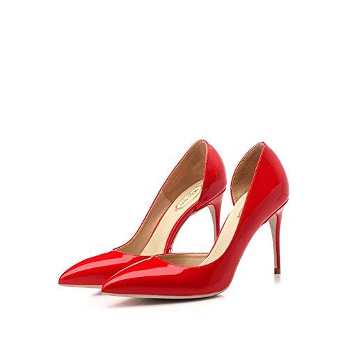 Femme Chaussures Party 35 EU Rouge Mariage Mode De Femmes 8 UK Sexy Hauts Red Chaussures 3 Talons Travail Discothèque Court 5cm rrqwp7S