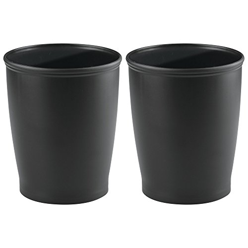 mDesign Round Shatter-Resistant Plastic Small Trash Can Wastebasket, Garbage Container Bin for Bathrooms, Kitchens, Home Offices, Dorm Rooms - Pack of 2, Black
