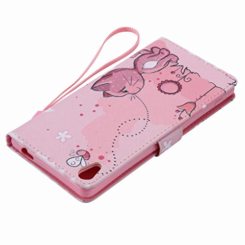 Custodia Sony Xperia XA Ultra / F3212 / F3216 Cover Case, Ougger Portafoglio PU Pelle Magnetico Stand Morbido Silicone Flip Bumper Protettivo Gomma Shell Borsa Custodie con Slot per Schede, Gatto Cari