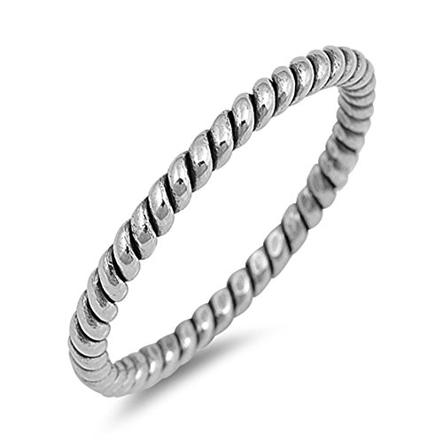 Oxidized Rope Wedding Ring New .925 Sterling Silver Thumb 2mm Band Size 10 (Rope Thumb Ring)