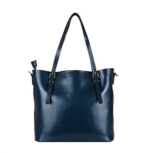 Yy.f Nuevos Bolsos De Mano Portátiles De Gran Capacidad De Cuero Simple Portátil Bolso De Hombro De La Mujer Multicolor Blue