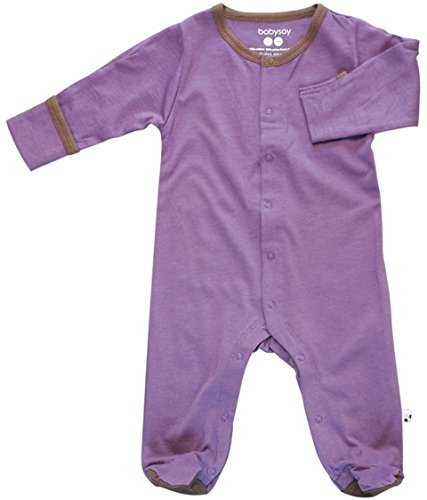 Babysoy Basic Snap Footie (3-6 Months, Eggplant) by Babysoy