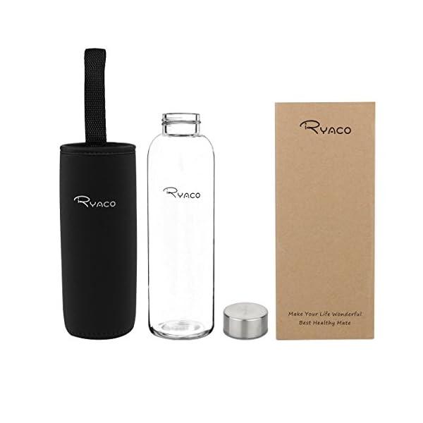 Ryaco Botella de Agua Cristal 550ml, Botella de Agua Reutilizable 18 oz, Sin BPA Antideslizante Protección Neopreno Llevar Manga y Cepillo de Esponja 1