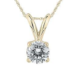 Diamond Solitaire Pendant in Yellow Gold