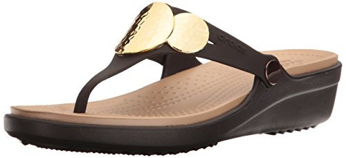 crocs Women's Sanrah Embellished Flip Wedge , Espresso/Gold, 10 M US ()