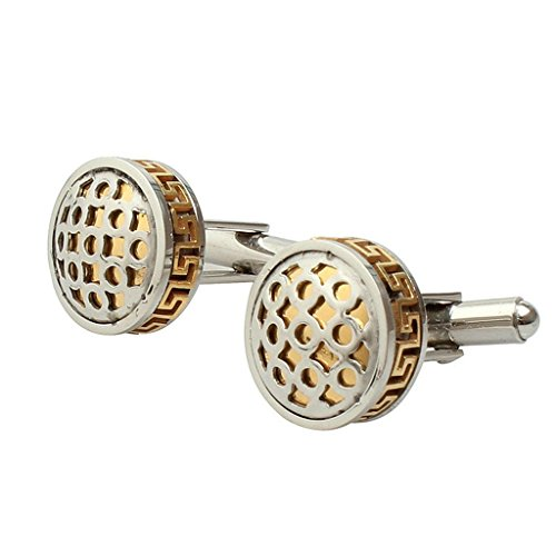 Aooaz Mens Cufflinks Classic Round Circle French Shirt Cufflinks For Men Gold Charm Style (Circle Pearl Design Cufflinks)