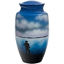 Silverlight Urns Fishing Cremation Urn, Honors a Fly Fisherman or Outdoorsman, Blue Metal, 10 Inches Tall