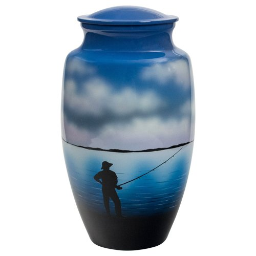 Silverlight Urns Fishing Cremation Urn, Honors a Fly Fisherman or Outdoorsman, Blue Aluminum, 10.5 Inches Tall